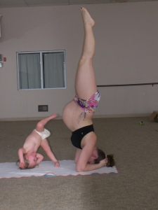 sara and bella headstand